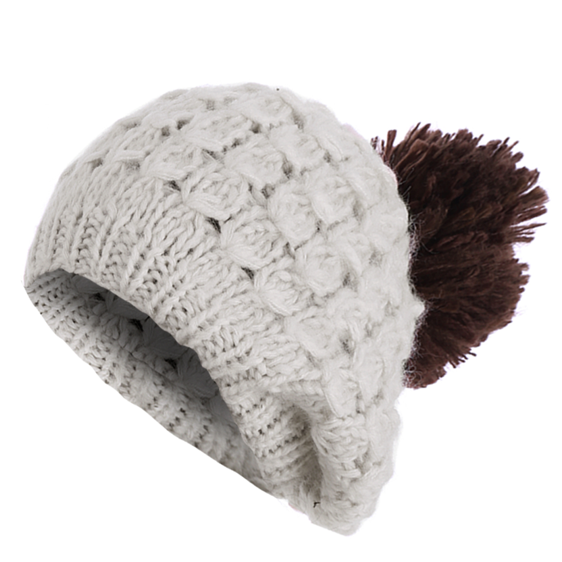 Ladies Textured Design Thick Beige Dark Brown Winter Cable-Knitted Cap Hat