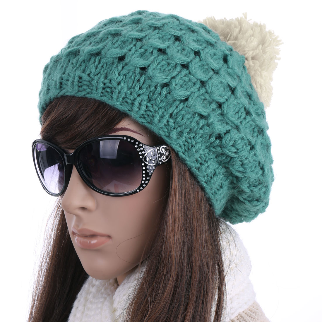 Woman Chic Blue Yellow Textured Design Winter Knitted Cap Hat