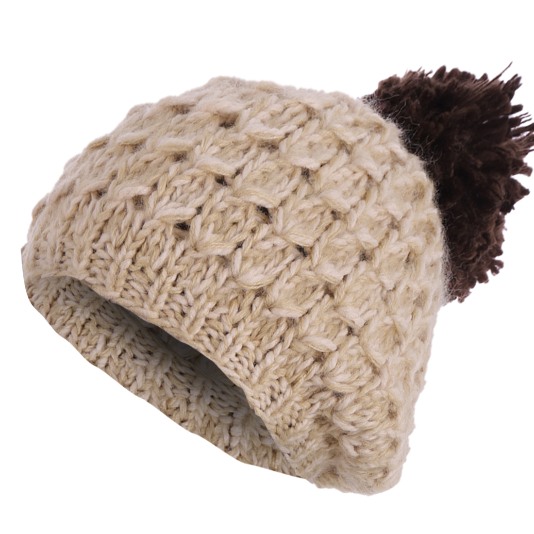 Women Khaki Dark Brown Color Textured Beanie Knitted Hat