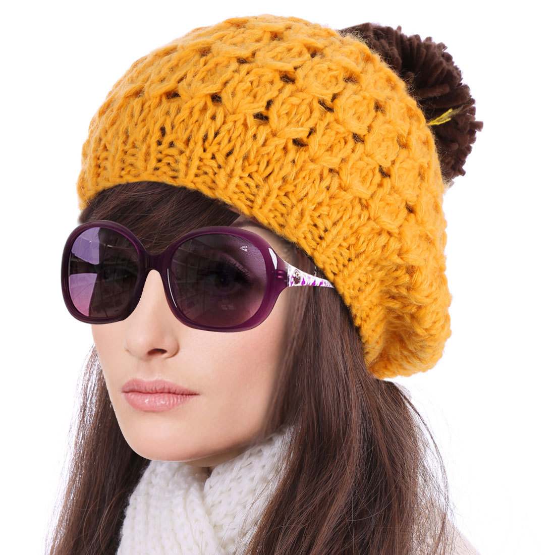 Lady Chic Color Blocking Yellow Dark Brown Thick Knitted Hat