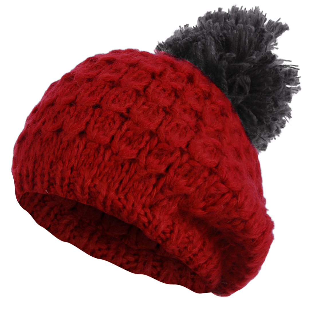 Red Gray Color Textured Design Beanie Cable-Knitted Hat for Lady