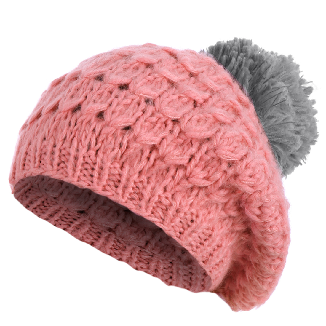 Pretty Pink Gray Color Blocking Winter Knitted Hat for Woman
