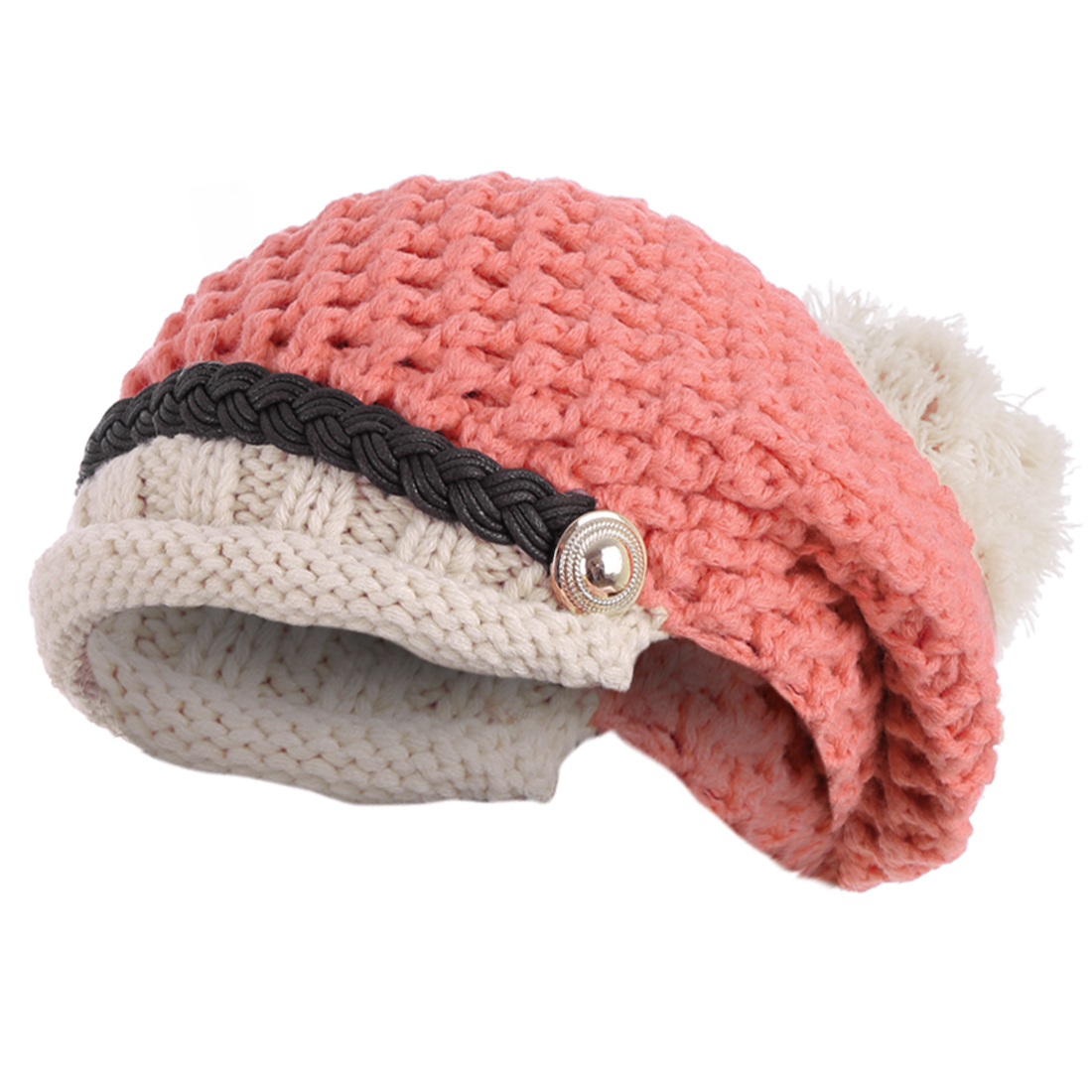 Ladies Chic Textured Design Pink Beige Warm Cable-Knitted Hat