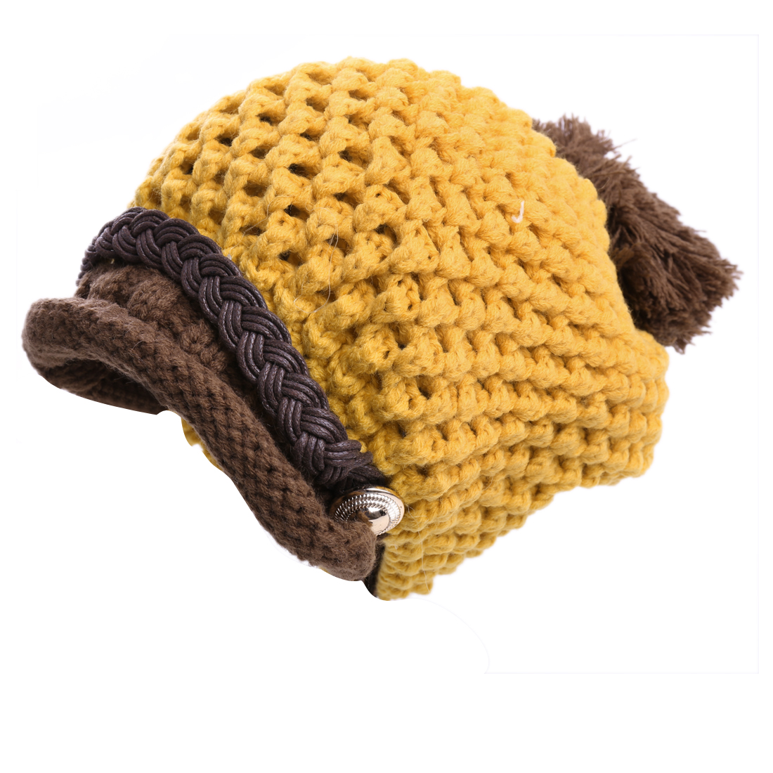 Chic Contrast Color Yellow Brown Winter Cable-Knitted Hat for Lady