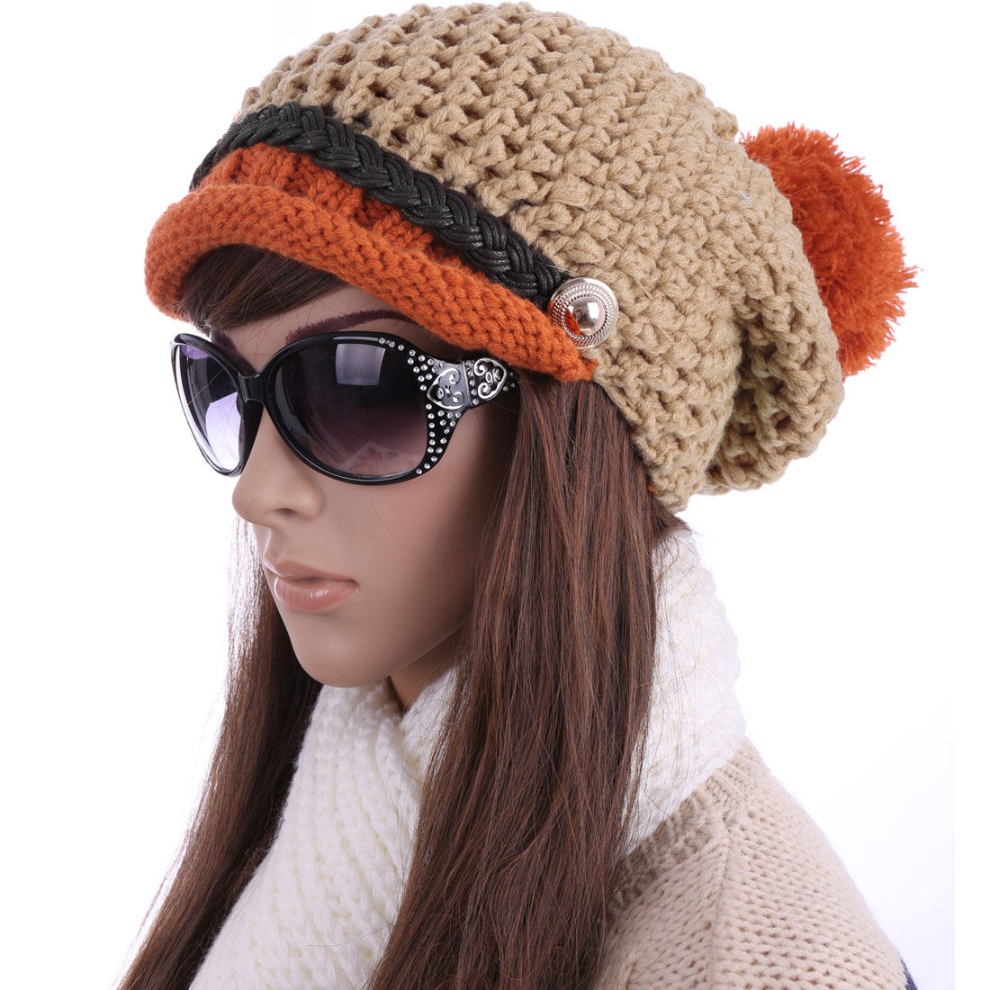 Contrast Color Design Coffee Light Brown Knitted Hat for Lady