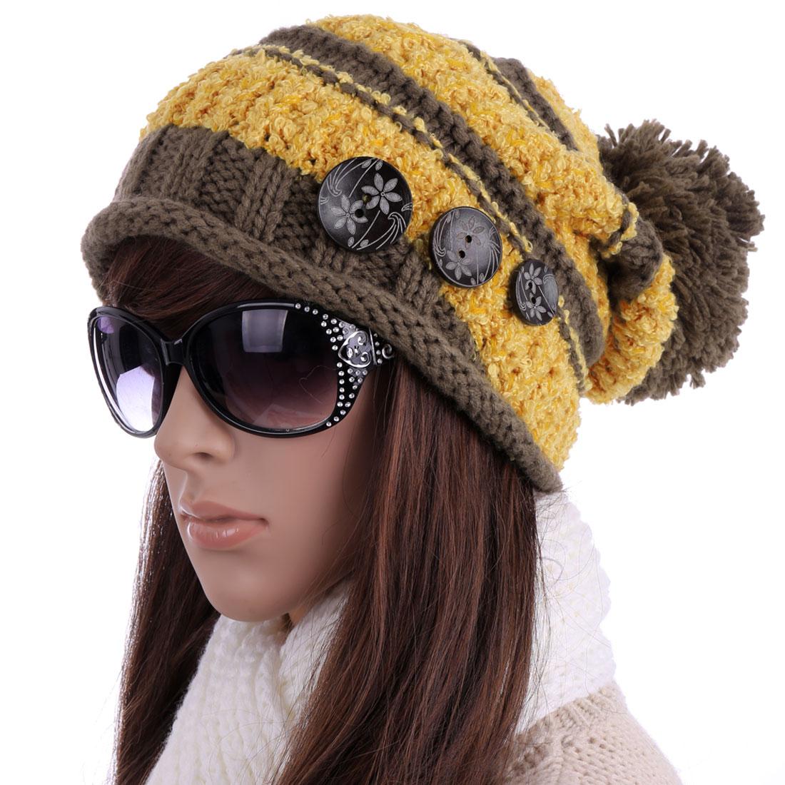 Women's Pom Pom Stretchy Warm Winter Knitted Beanie Hat Yellow