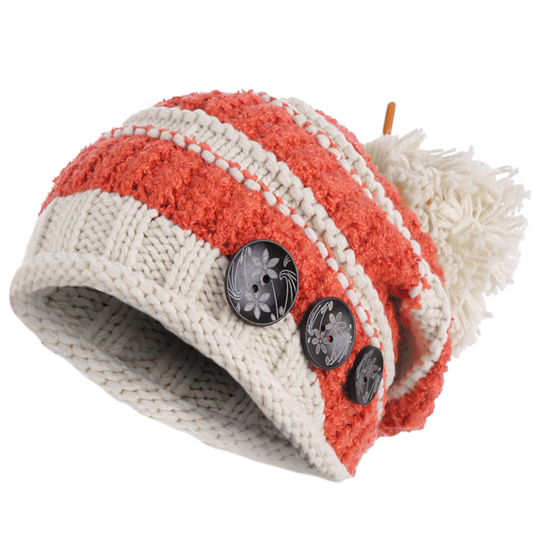 Women's Button Decor Pom Pom Striped Warm Knitted Beanie Hat Orange