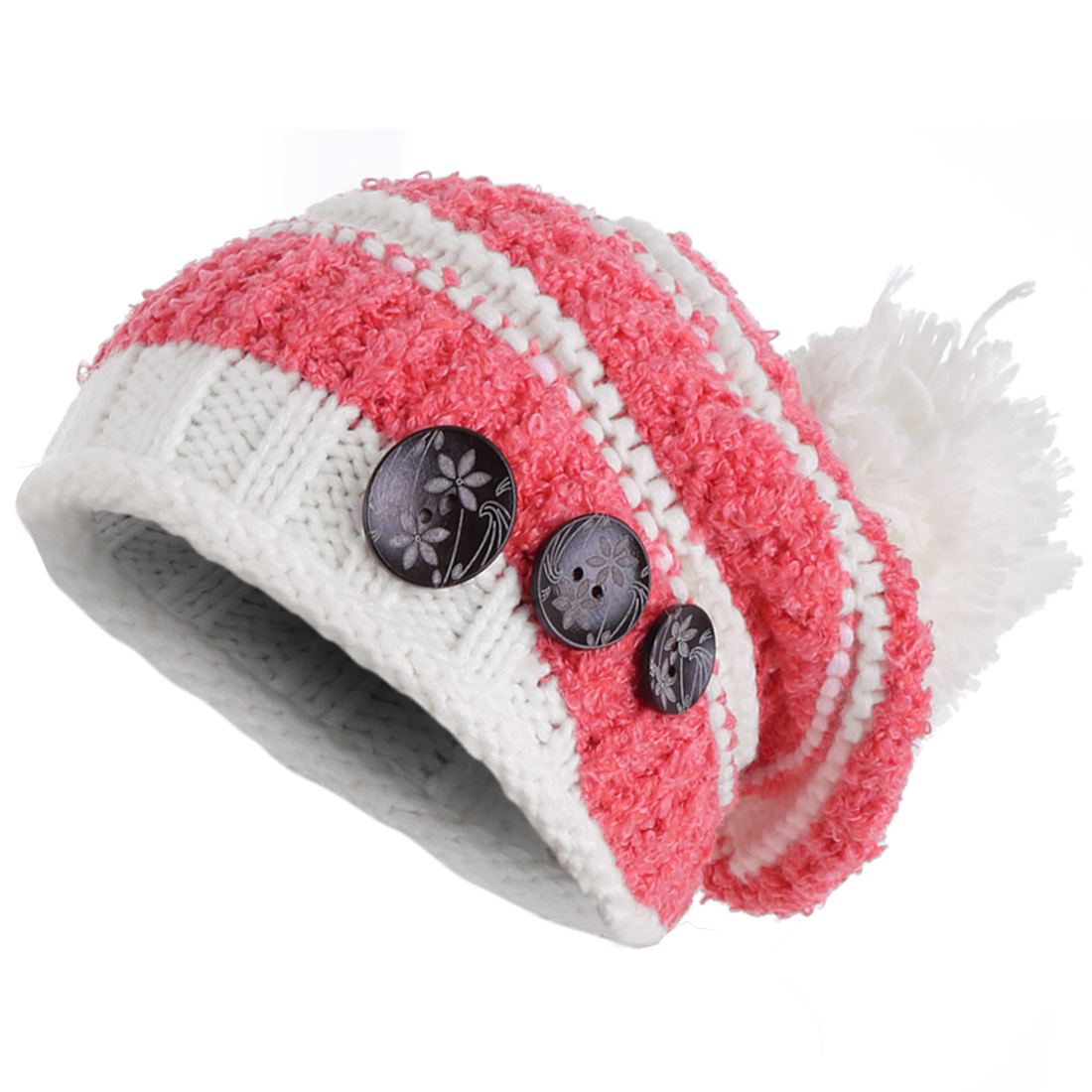 Women's Fashion Pom Pom Button Decor Stripes Fuchsia Beanie Hat