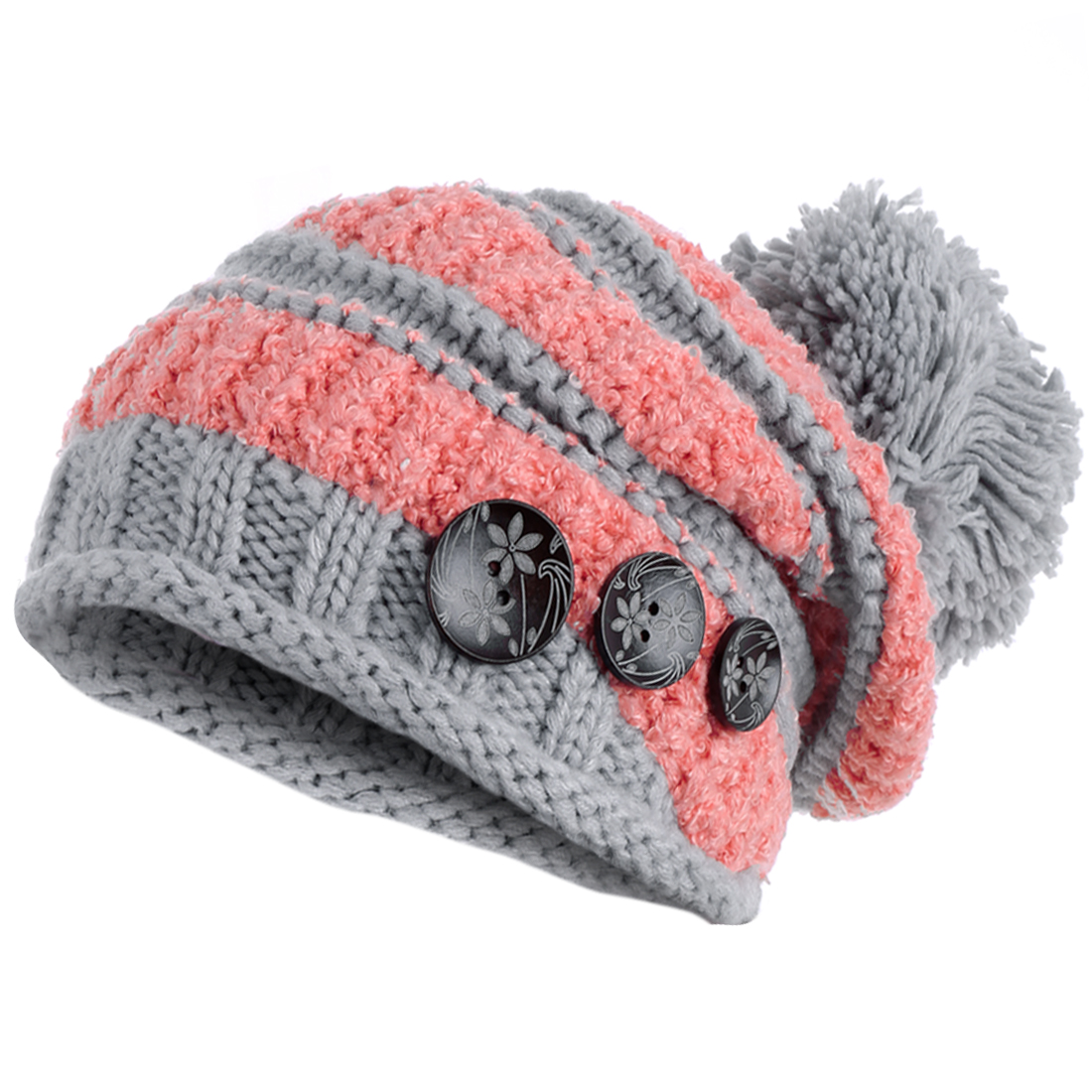 Women's Pom Pom Patchwork Buttoned Decor Warm Beanie Pink