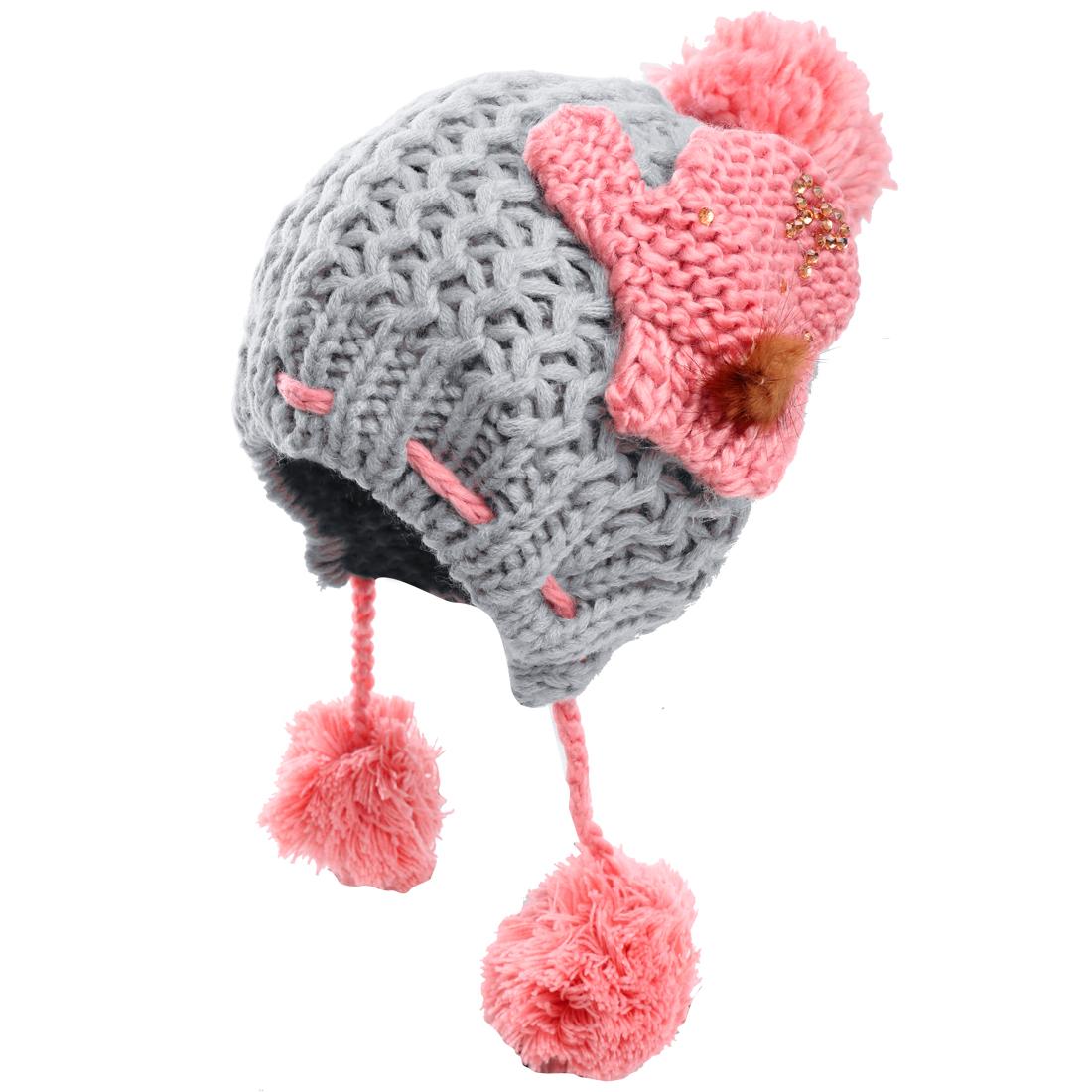 Grey Crochet Pom Pom Design Stretchy Stylish Women Knitting Hat