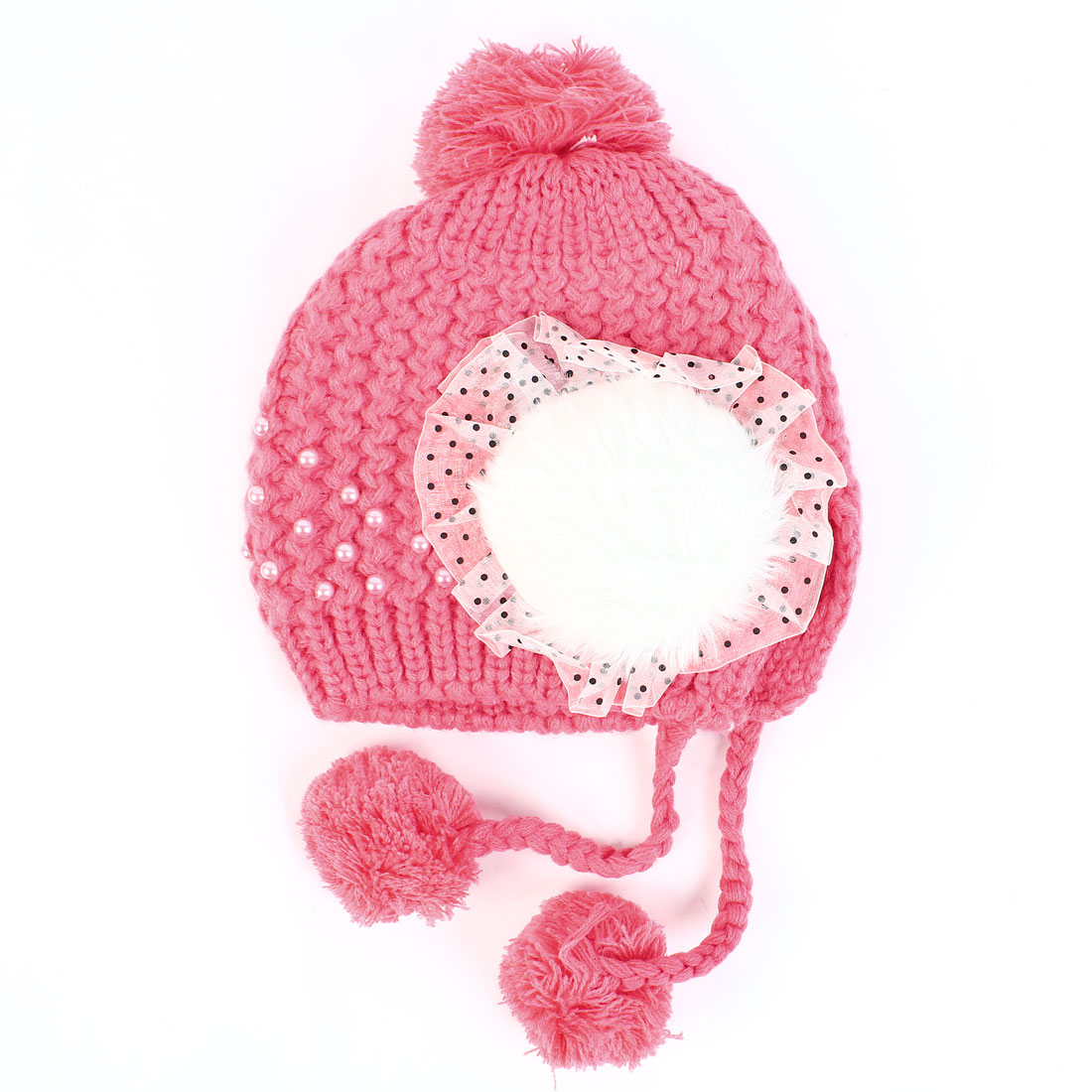 Women's Patchwork Design Pom Pom Winter Knitted Pearl Decor Ear Flap Hat Fuchsia