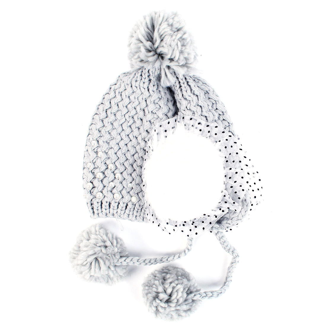 Women's Winter Warm Gray Pom Pom Stylish Pearl Decor Ear Flap Hat