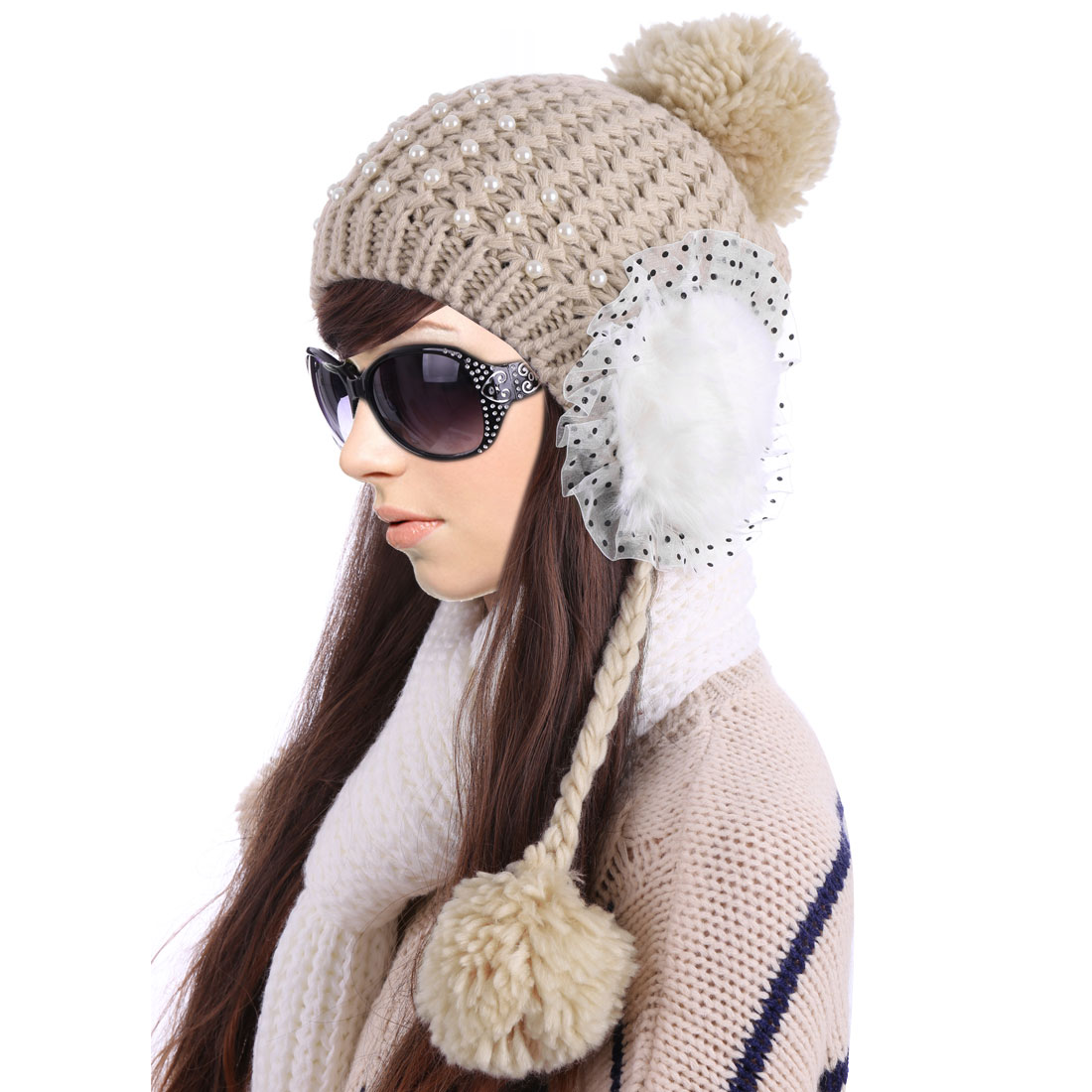 Women's Khaki Pom Pom Ear Flap Knitted Warm Patchwork Hat