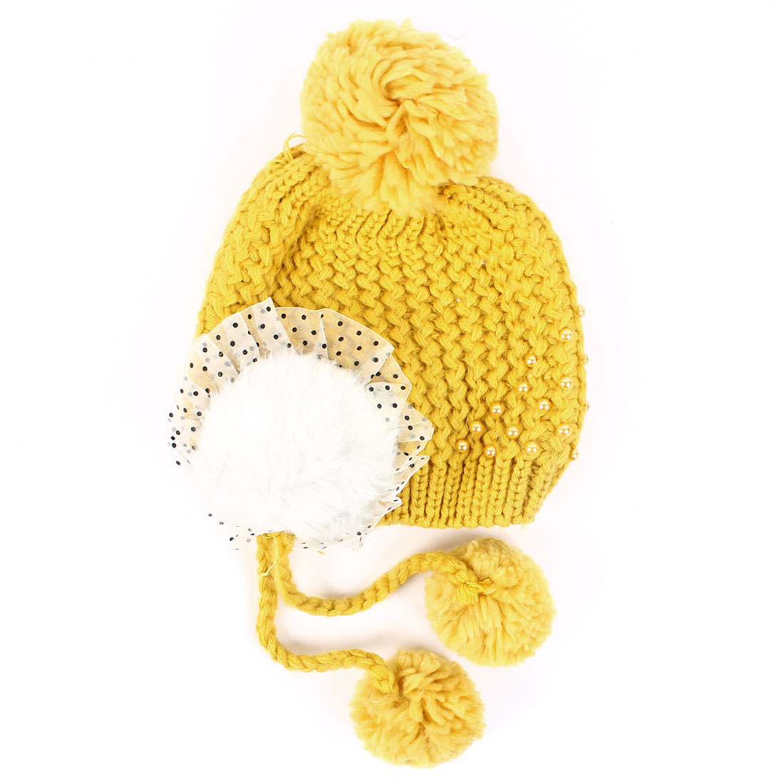 Women's Lovely Pom Pom Panel Design Warm Winter Knitted Hat Yellow