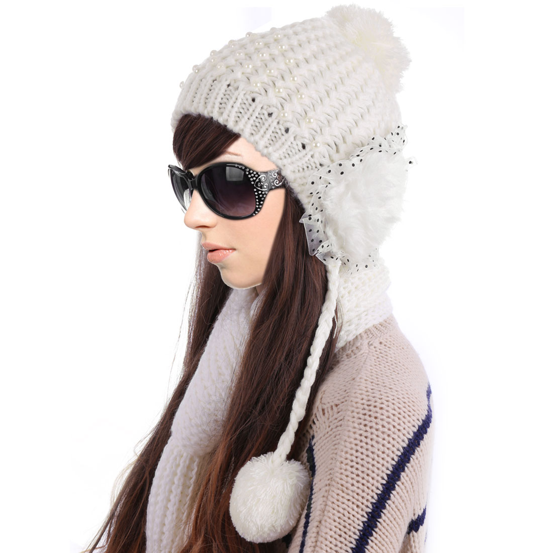 Winter Warm Pom Pom Patchwork Design White Ear Flap Hat For Women