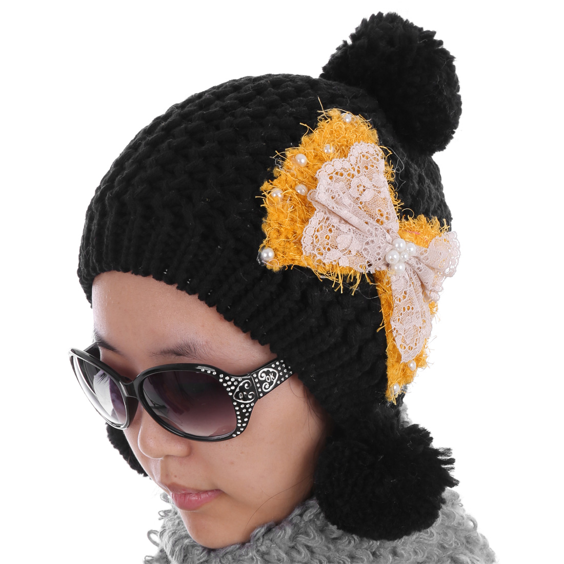Women Bowknot Embellished Kintting Warm Hat Black