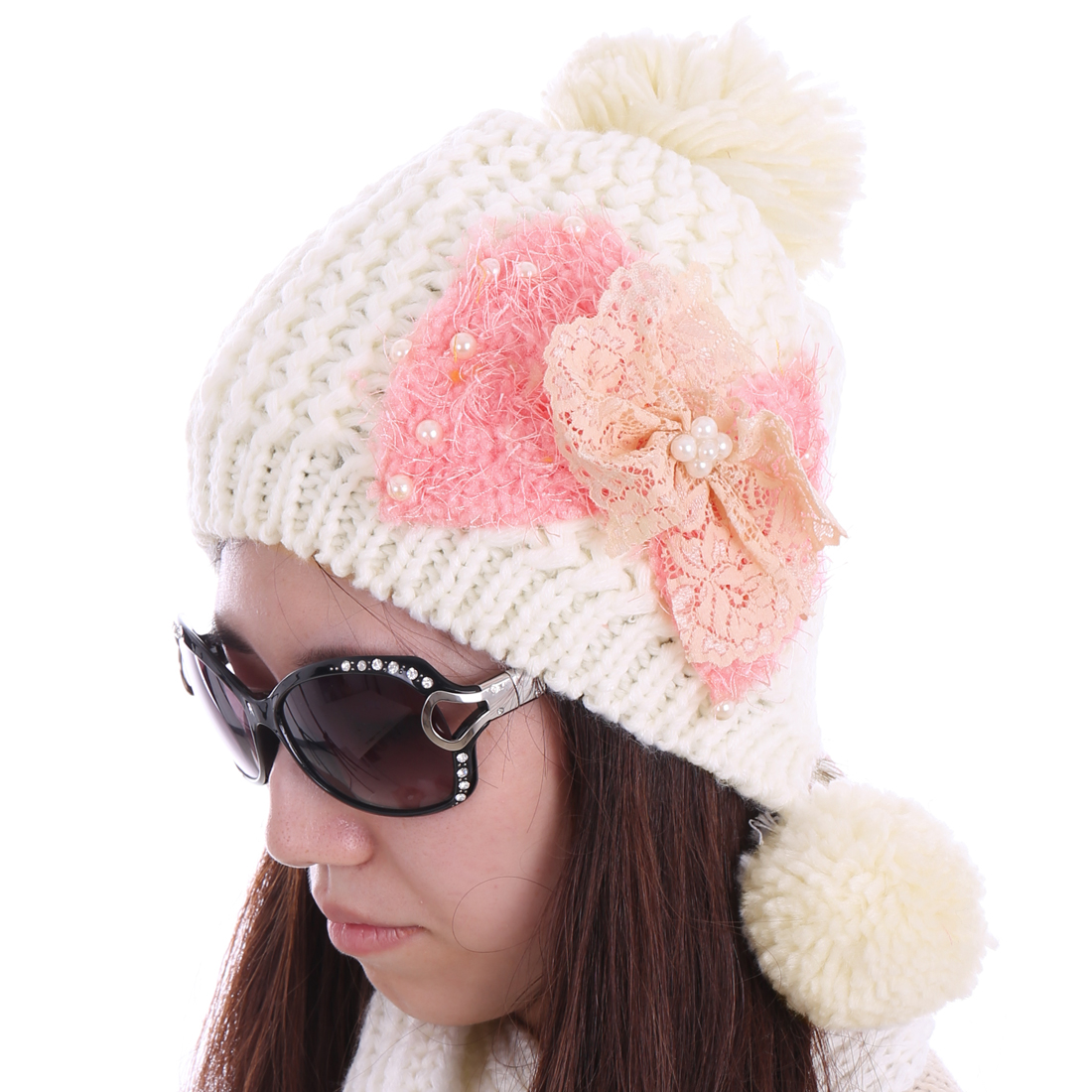 Women Beads Detail Ribbed Winter Soft Hat White