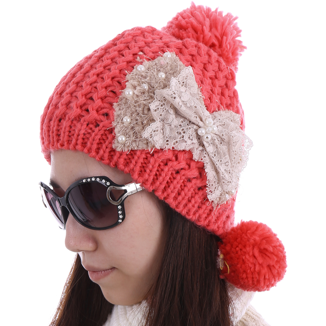 Women Lace Bowknot Decor Ribbing Hat Watermelon Red