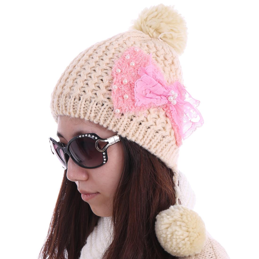 Women Bowknot Detail Winter Wearing Wool Hat Beige
