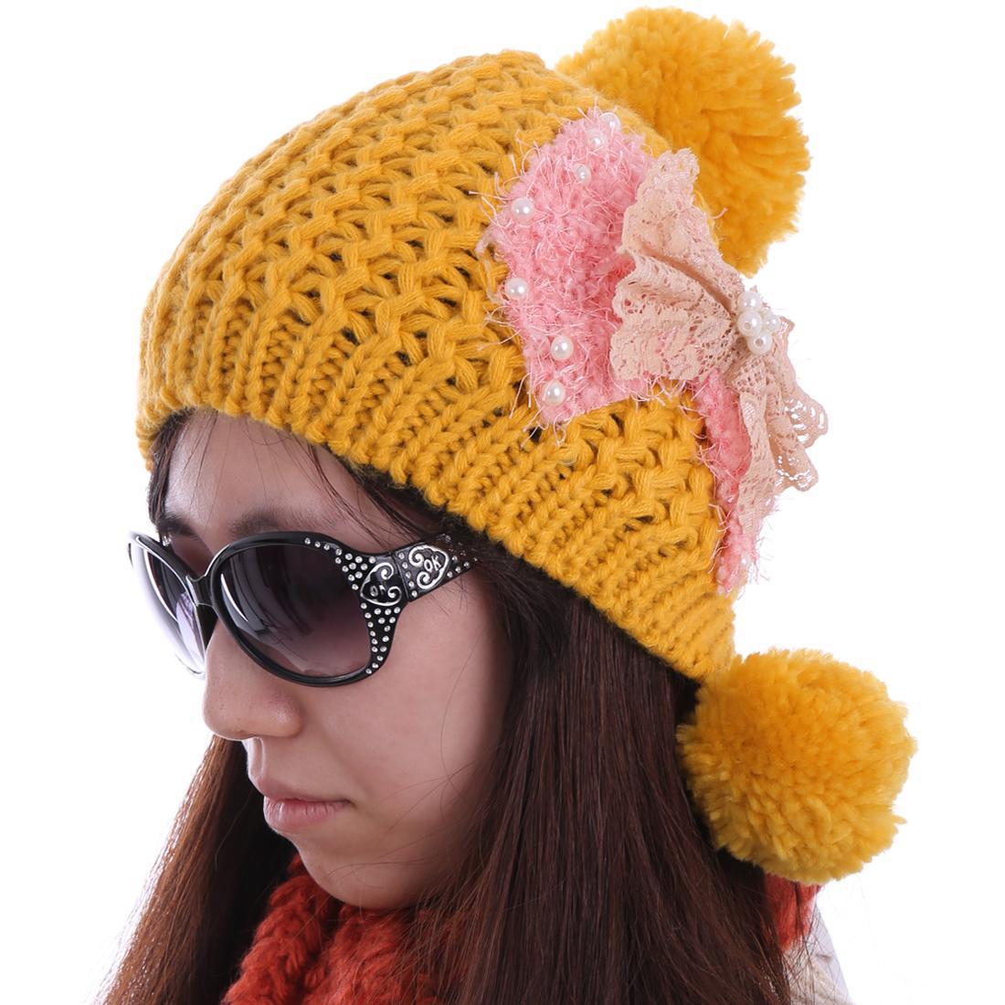 Women Beads Decor Pom Pom Kintting Wool Hat Yellow