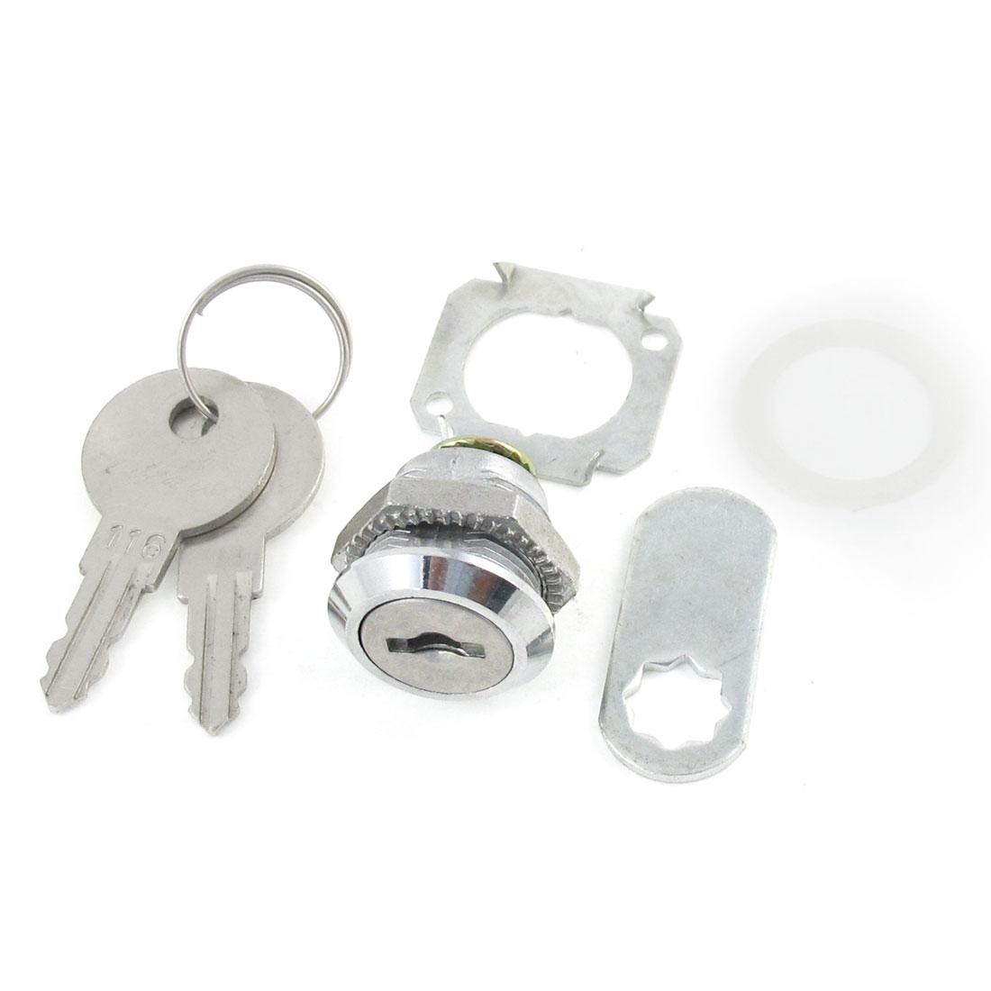 Tool Box Cabinet Locking 17mm Dia Thread Cylinder Cam Lock w 2 Keys