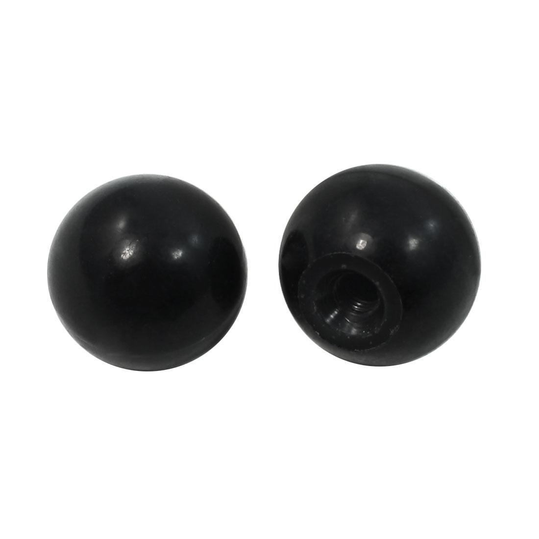 "2 Pcs 15/64"" Thread Hole 25mm Diameter Tapped Handling Ball Knobs Black"
