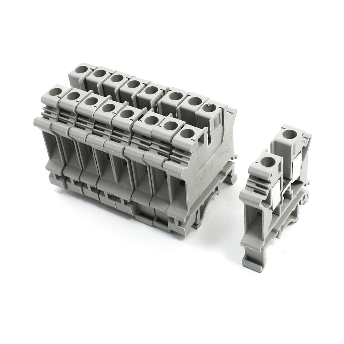 10Pcs Gray Plastic UK6N Screw Clipping Contact Terminal Block 800V 57A
