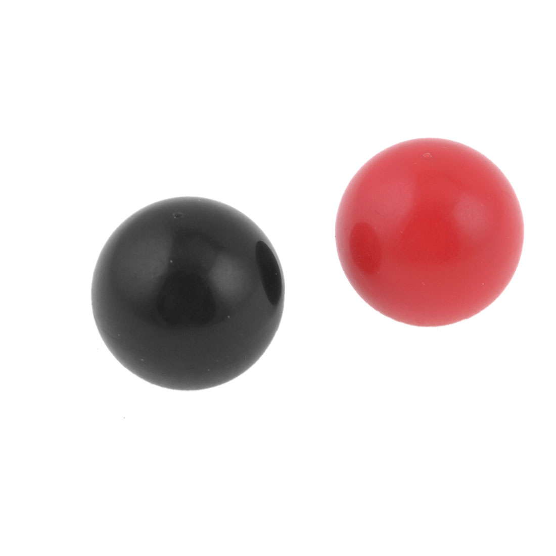 "2 Pcs 0.2"" Dia Threaded Plastic Ball Knob Round Handle Black Red for Machine Tool"