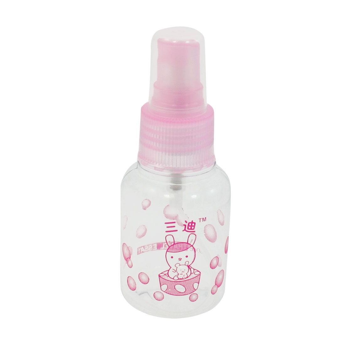 Pink Clear Bubble Prints Plastic Cosmetic Water Spray Bottle for Women