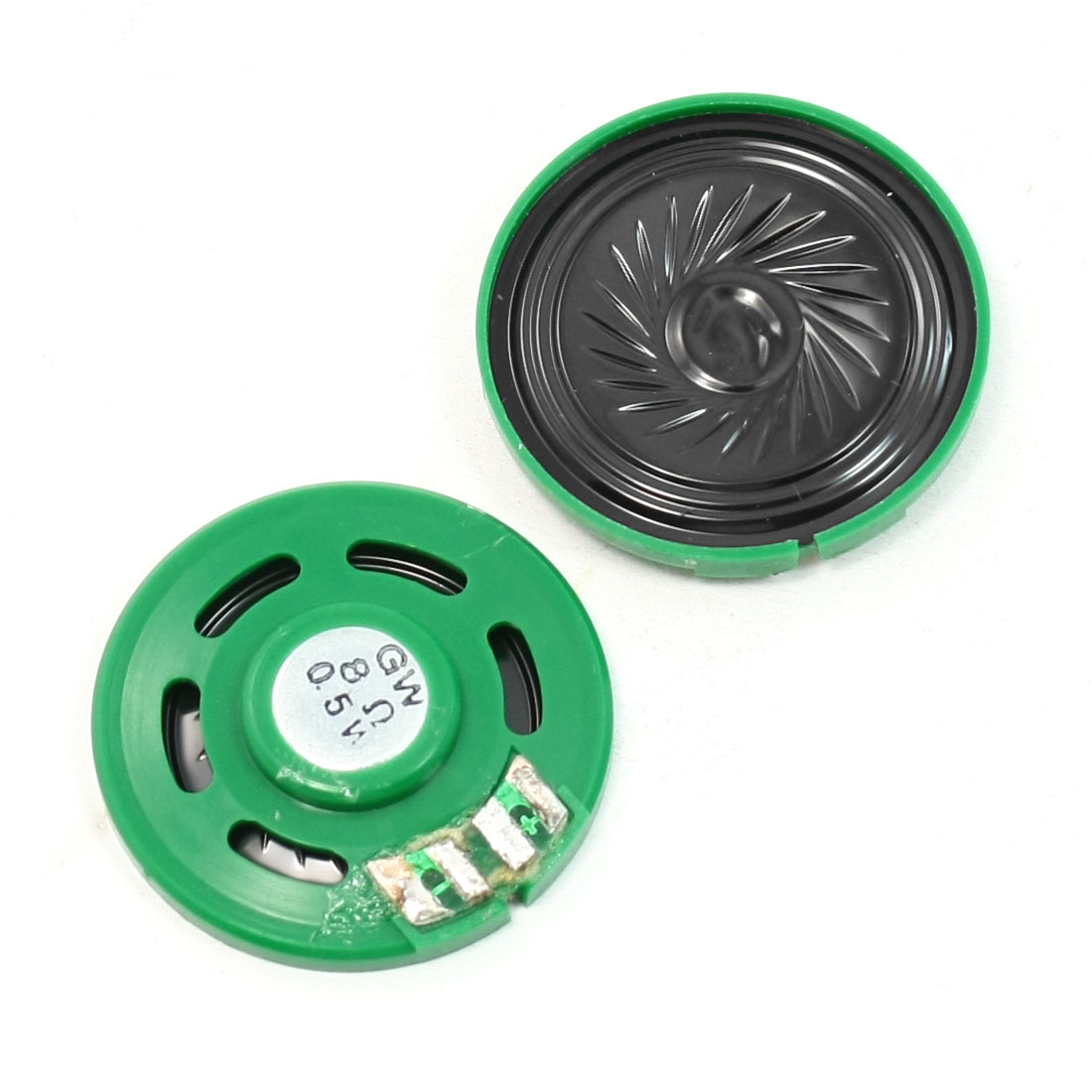 2 Pcs 39mm Dia Green Black Round Magnetic Plastic Speaker Horn 8 Ohm 0.5W
