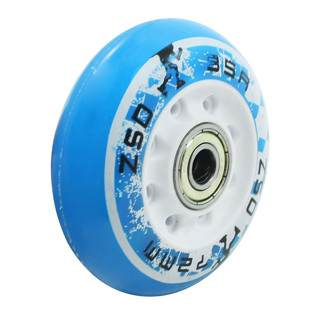 "Blue Skating Shoes Plasitc 2.8"" Diameter Bearing Roller Wheel"
