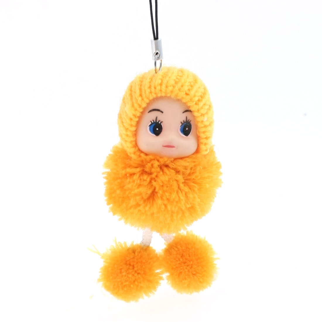 Knitted Hat Moppet Dangling Strap String Yellow for MP3 MP4 Mobile Phone
