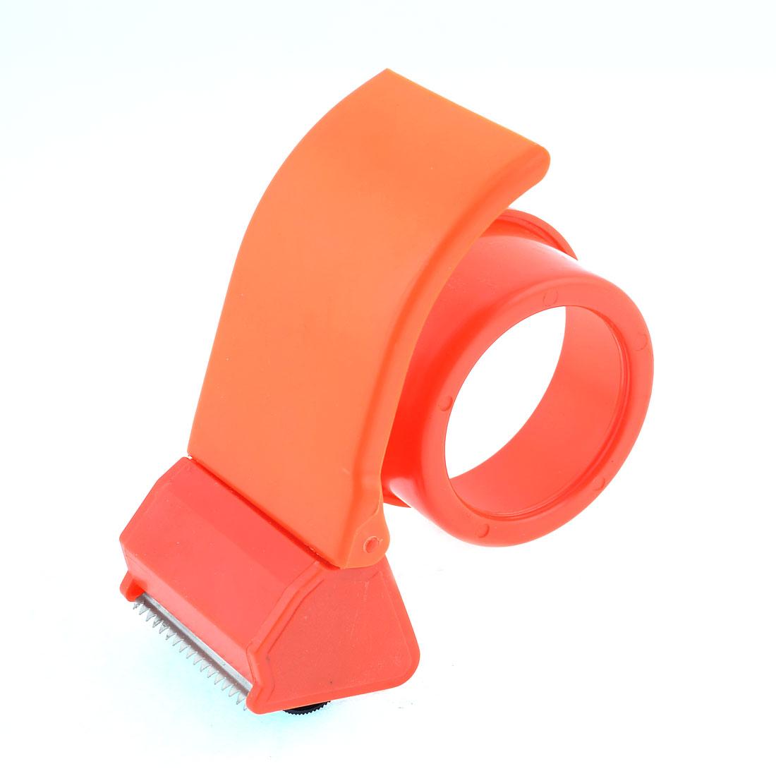 "Orange Red Sealing Packaging Parcel Hand Tape Gun Roller Cutter 2"" Width"