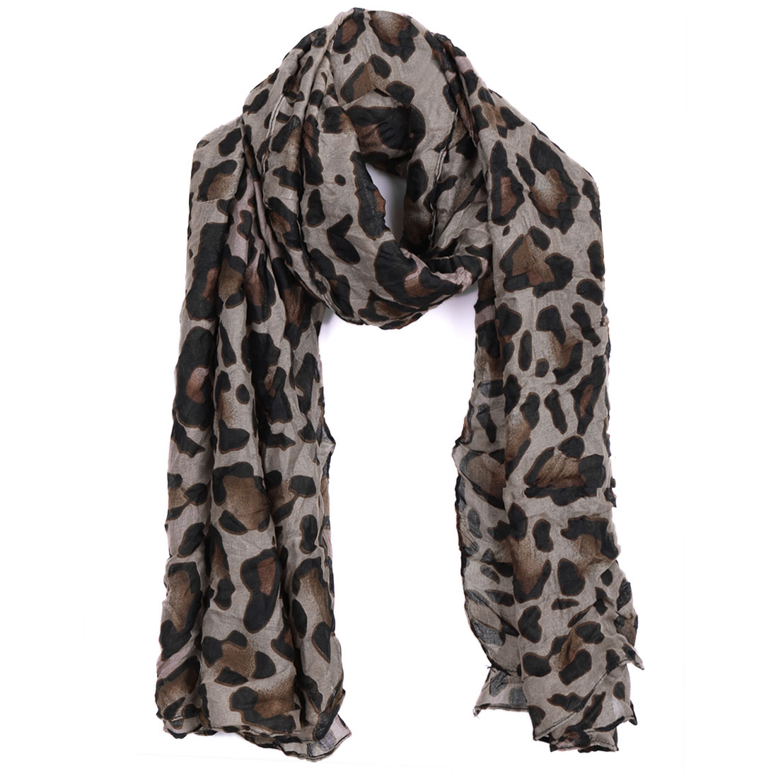 Women Ruched Detail Classic Warm Scarf Gray Coffee