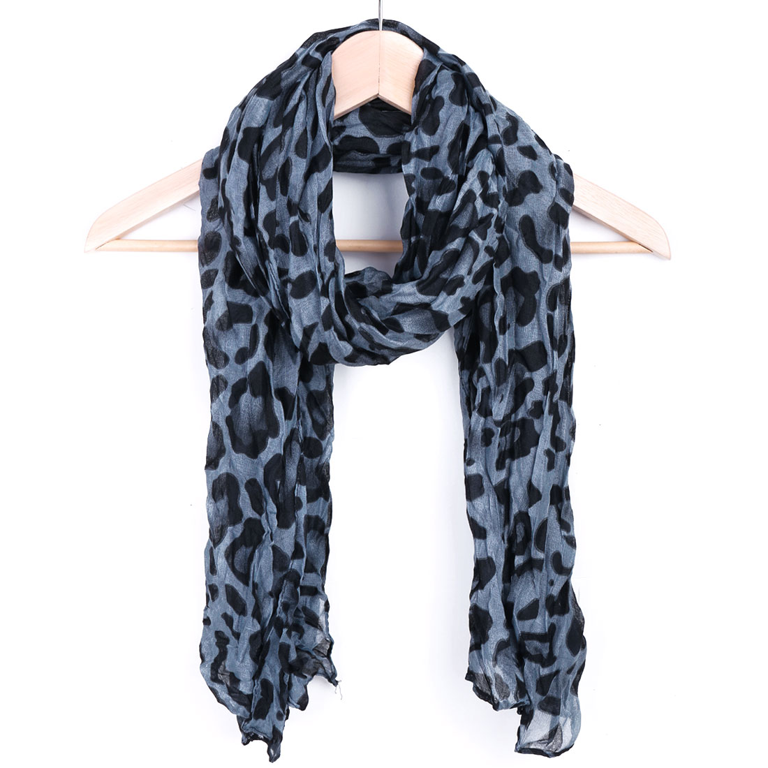 Women Leopard Prints Casual Scarf Dark Blue Black