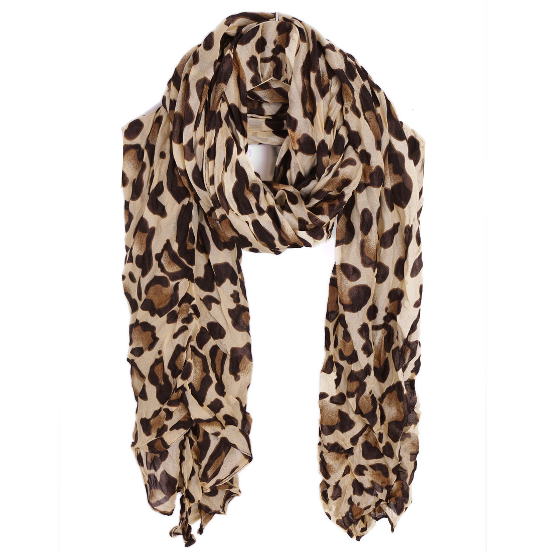 Women Pleated Winter Wearing Scarf Beige Coffee