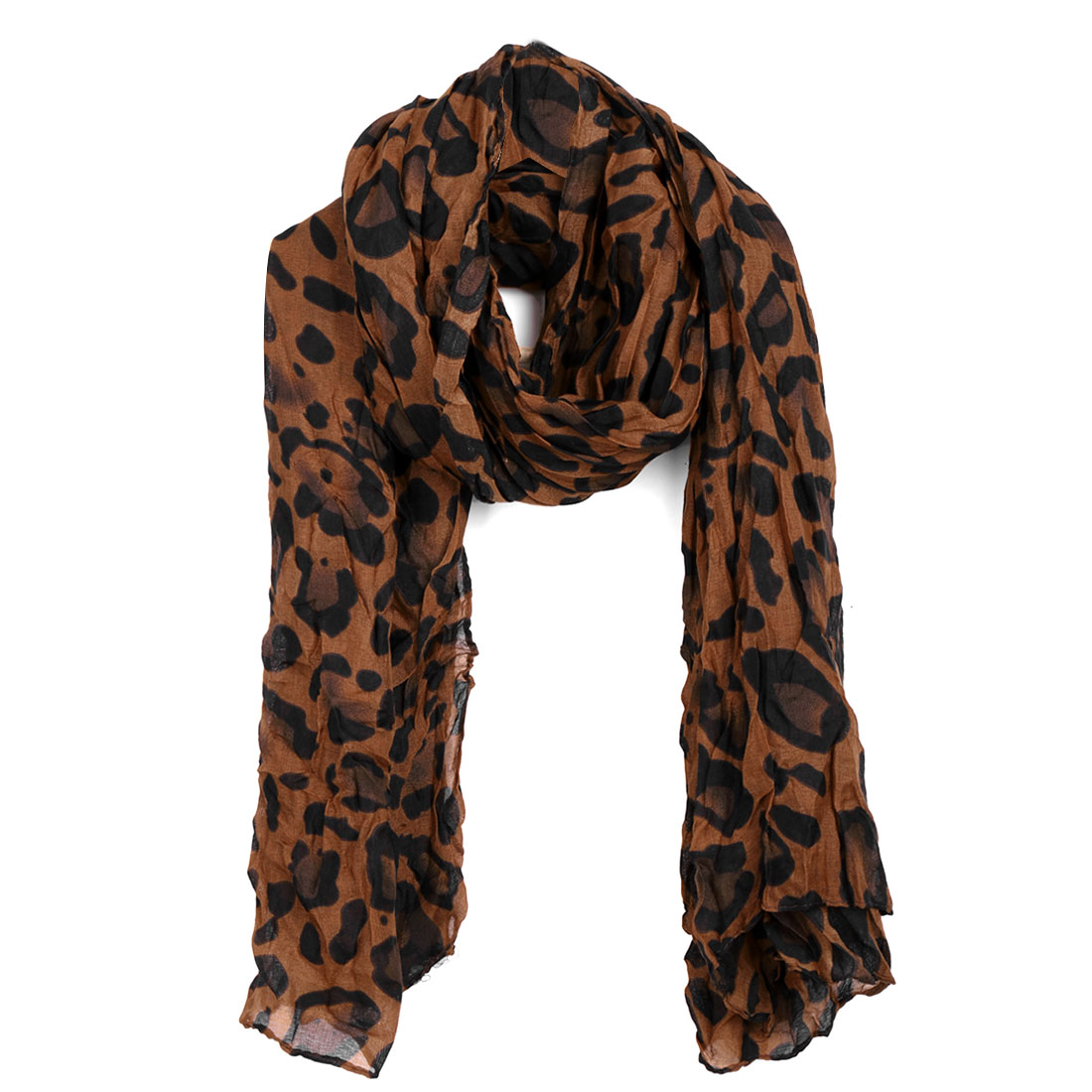 Women Pleated Fashionable Stylish Scarf Rust Black
