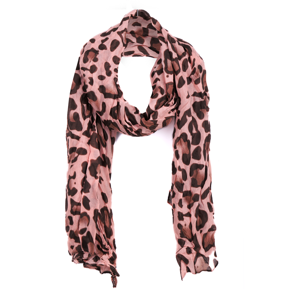Women Semi Sheer Warm Winter Scarf Pink Coffee