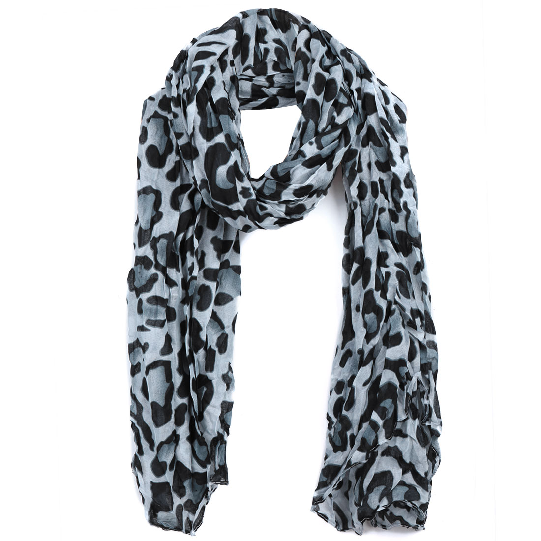 Women Ruched Warm Leisure Scarf Light Blue Black
