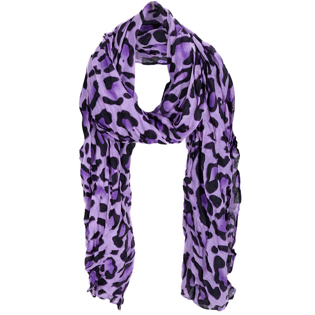 Women Leopard Prints Semi Sheer Scarf Purple Black