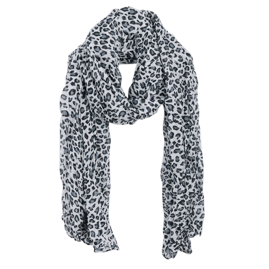 Women Semi Sheer Soft Stylish Scarf Light Gray Black