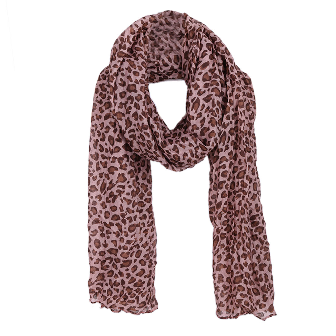 Women Leopard Prints Casual Scarf Pale Pink Coffee