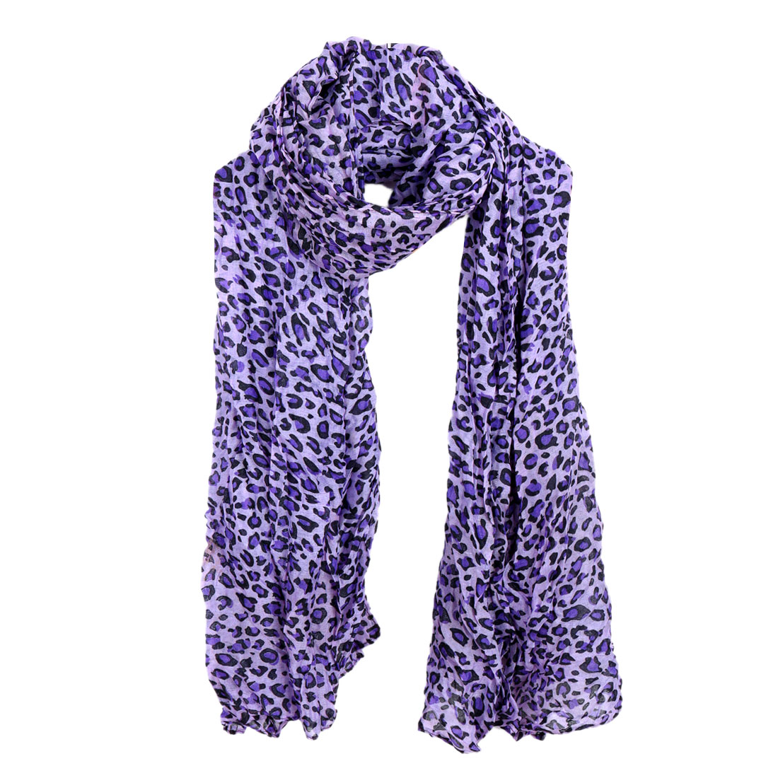 Women Pleated Winter Wearing Scarf Light Purple Black