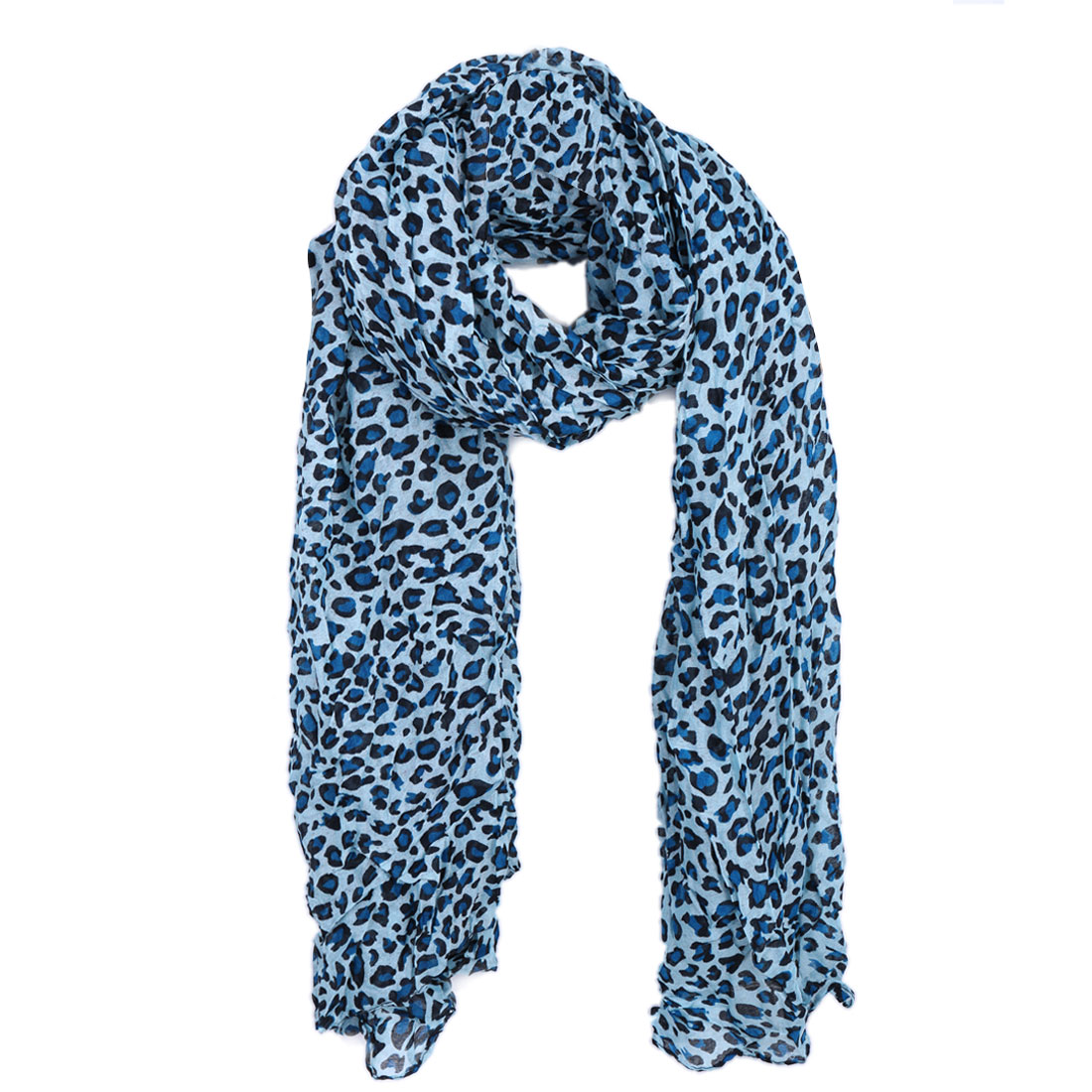 Women Pleated Fashionable Stylish Scarf Light Blue Black