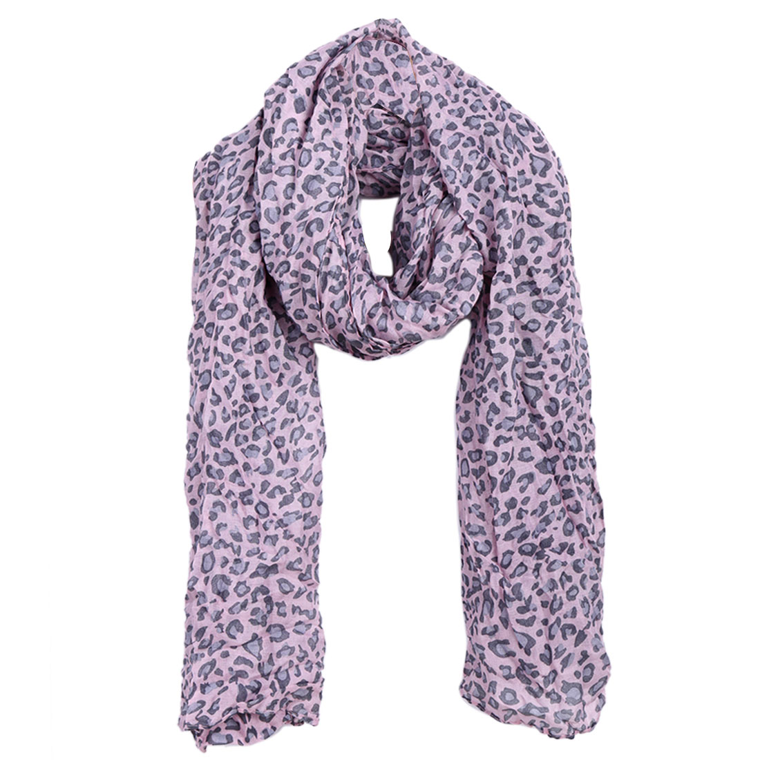 Women Semi Sheer Warm Winter Scarf Light Pink Gray