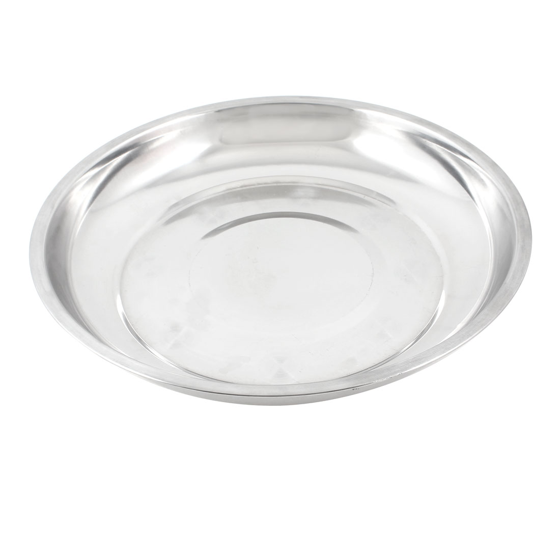 23cm x 3cm Round Silver Tone Stainless Steel Dinner Dish Plate Food Holder