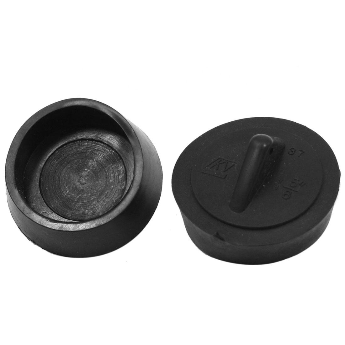 "1 5/8"" Diameter Water Sink Drainer Black Rubber Disposal Stopper 2 Pcs"