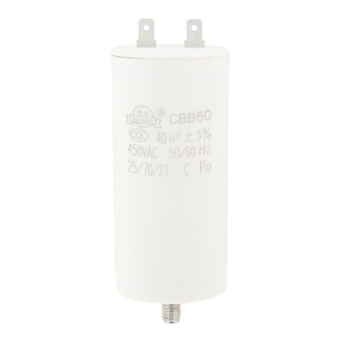Air Compressor Polypropylene Film Capacitor AC 450V 50/60Hz 40uF 8mm Thread