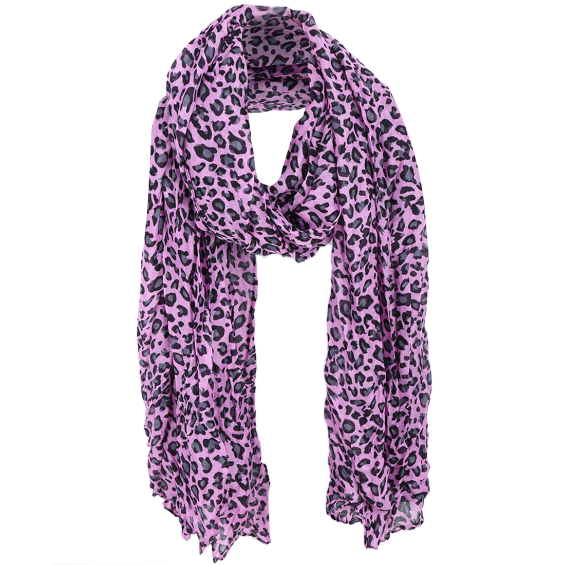 Women Leopard Prints Classic Soft Scarf Amaranth Black