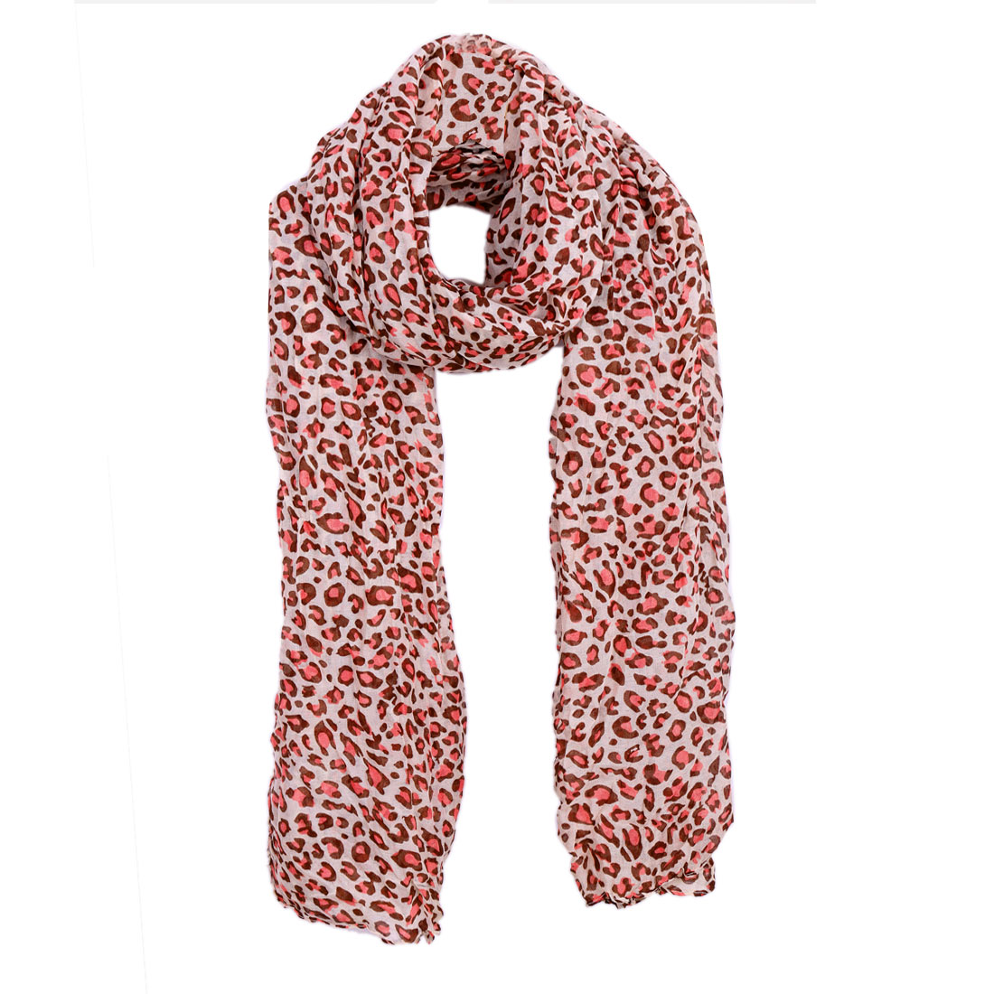 Women Ruched Detail Classic Warm Scarf Beige Pink